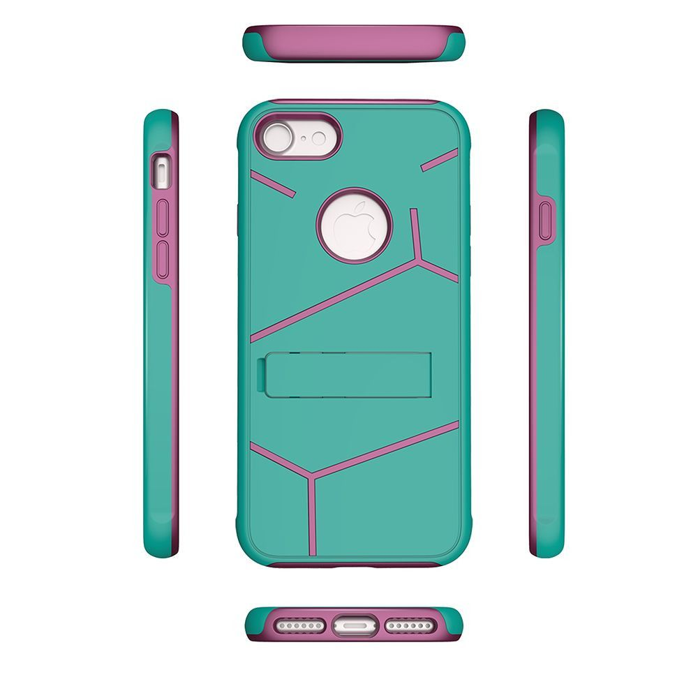 Apple iPhone 8 -  Helix Dual Layer Rugged Case with Stand, Teal/Hot Pink