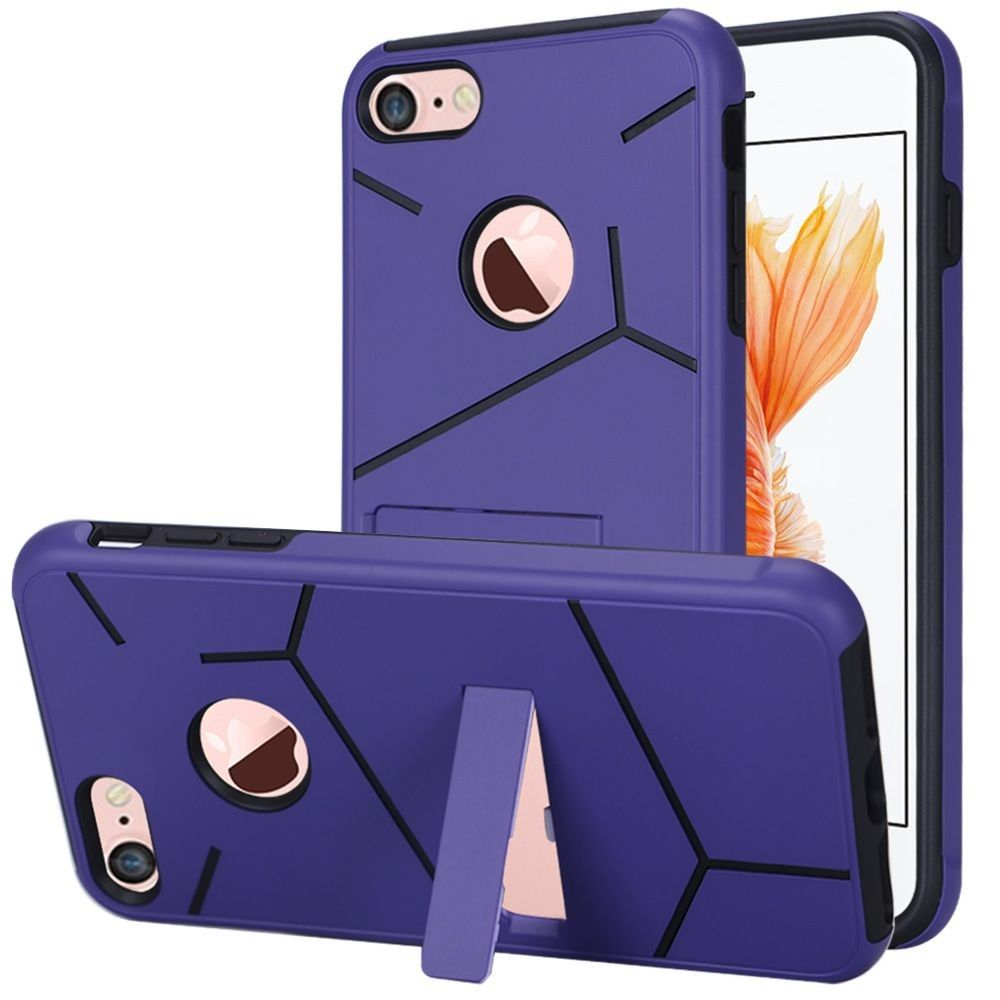 Apple iPhone 8 -  Helix Dual Layer Rugged Case with Stand, Purple/Black