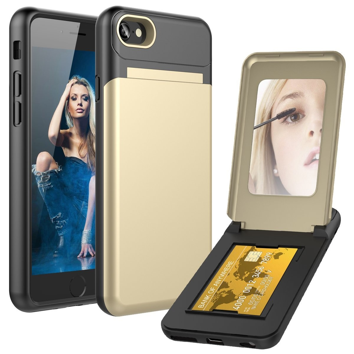 Apple iPhone 8 -  Hard Phone Case with Hidden Mirror and Card Holder Compartment, Gold/Black