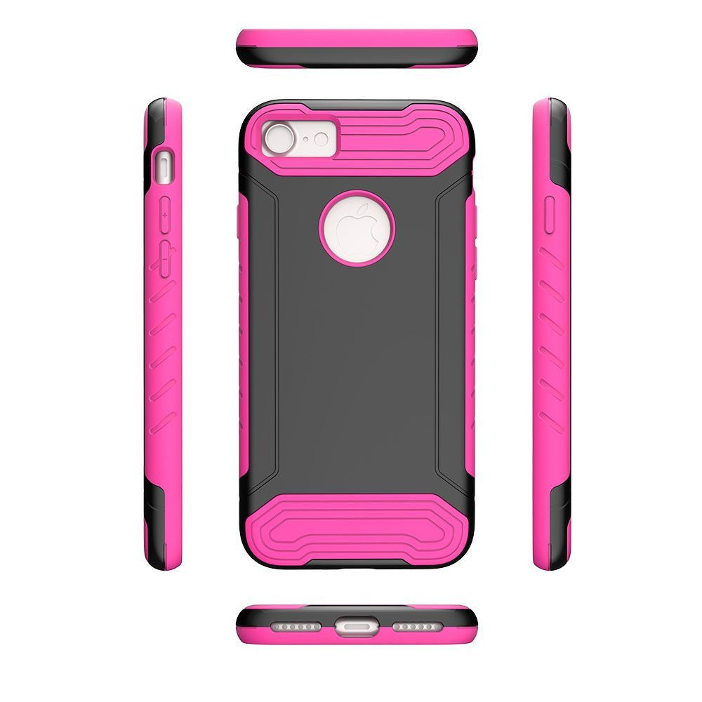 Apple iPhone 8 -  Quantum Dual Layer Rugged Case, Black/Hot Pink