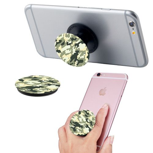 Apple iPhone 8 Plus -  Camo Print Expandable Phone Grip and Stand, Camo Green