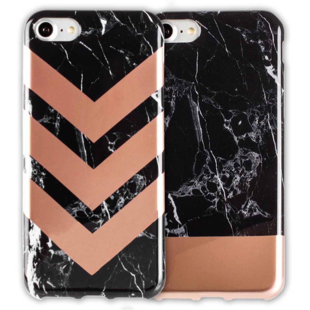 Apple iPhone 8 -  Marble Color Block Slim Case 2-Pack, Black/Rose Gold