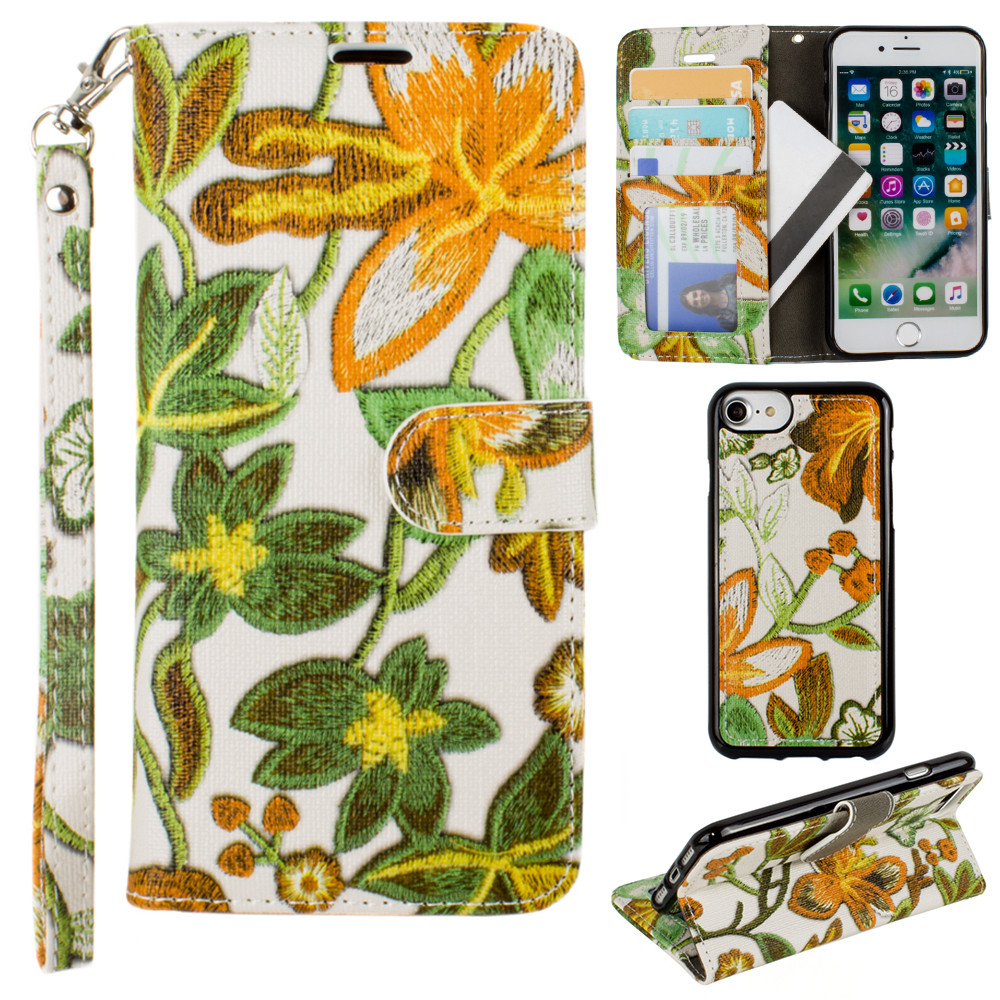 Apple iPhone 8 -  Faux Embroidery Printed Floral Wallet Case with detachable matching slim case and wristlet, Orange/Green