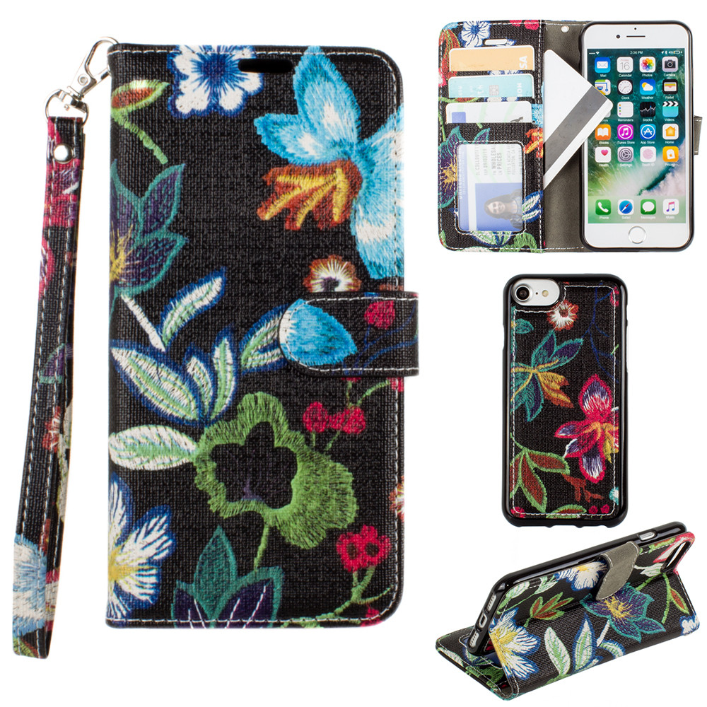 Apple iPhone 8 -  Faux Embroidery Printed Floral Wallet Case with detachable matching slim case and wristlet, Multi-Color/Black