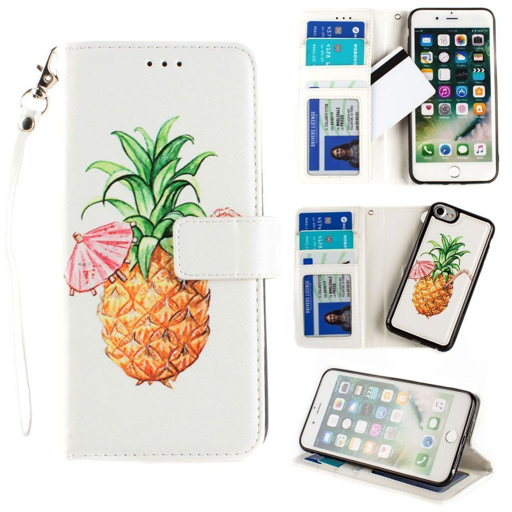 Apple iPhone 8 -  Printed Pineapple Wallet with Matching Detachable Slim Case and Wristlet, White/Yellow