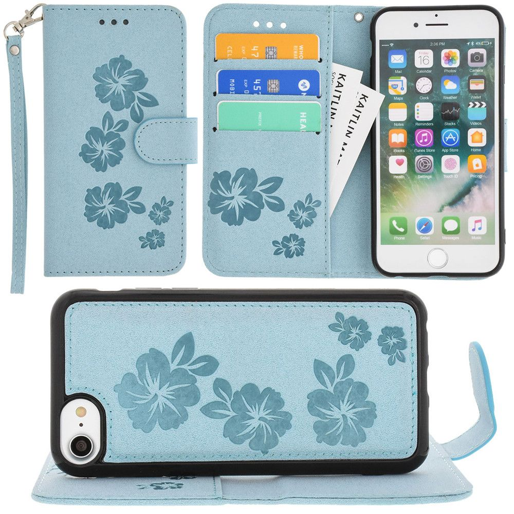 Apple iPhone 8 -  Embossed Glitter Hawaiian Flower Wallet with Detachable Matching Slim Case and Wristlet, Light Blue
