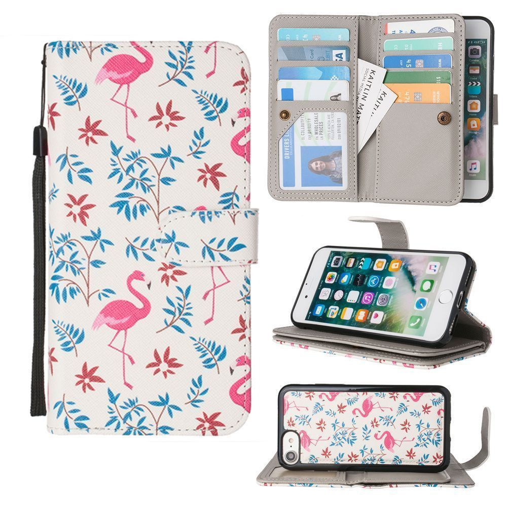 Apple iPhone 8 -  Printed Flamingo Multi-Card Wallet with Matching Detachable Slim Case and Wristlet, Pink/White