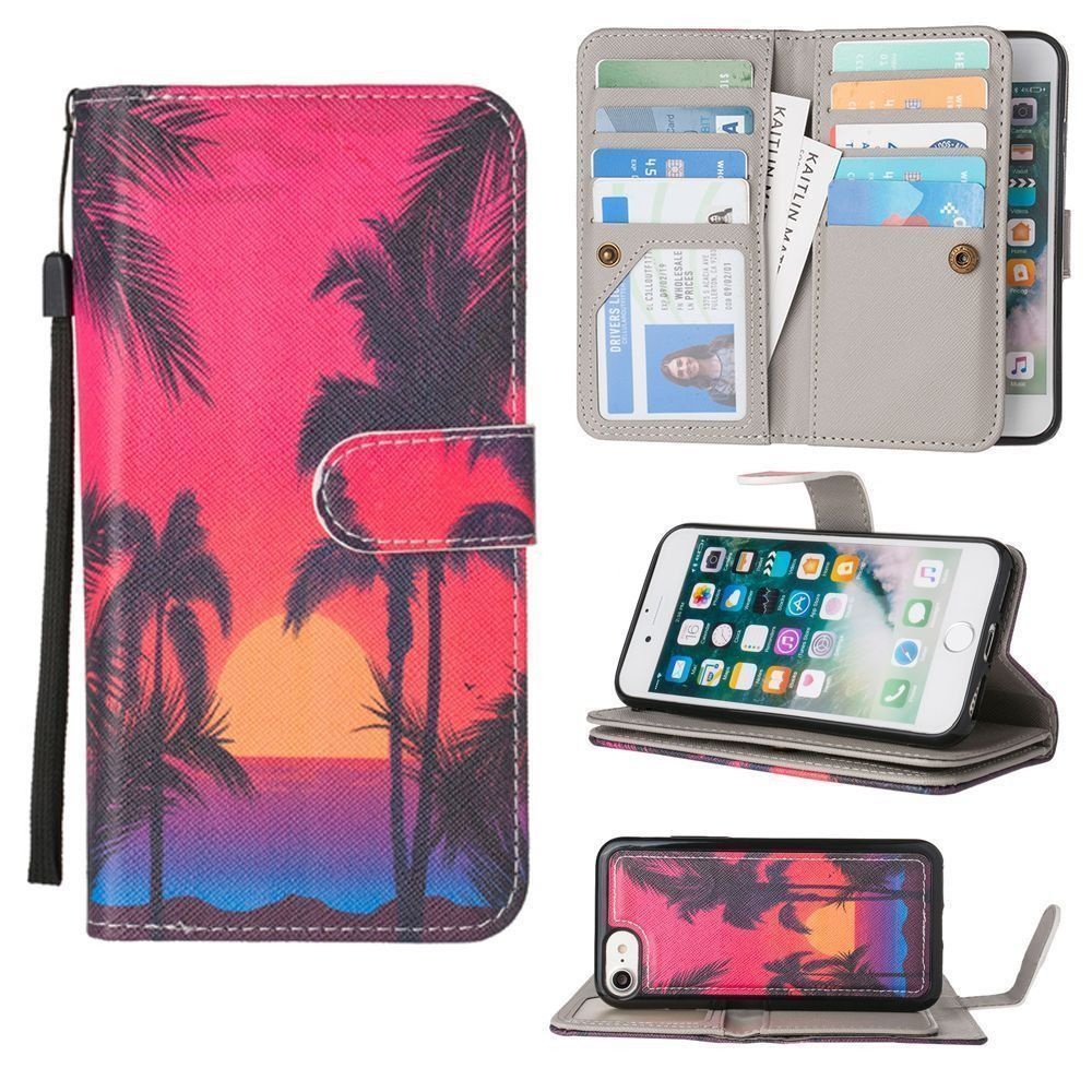 Apple iPhone 8 -  Beach Sunset Multi-Card Wallet with Matching Detachable Slim Case and Wristlet, Multi-Color
