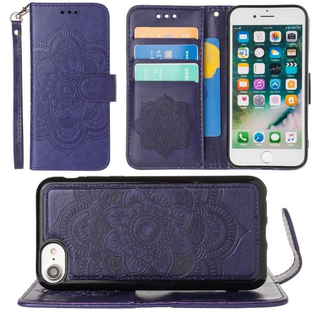 Apple iPhone 8 -  Embossed Mandala Wallet Case with Detachable Matching Case and Wristlet, Purple