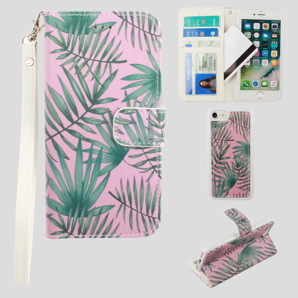 Apple iPhone 8 -  Palm Leaves Printed Wallet with Matching Detachable Slim Case and Wristlet, Pink/Green