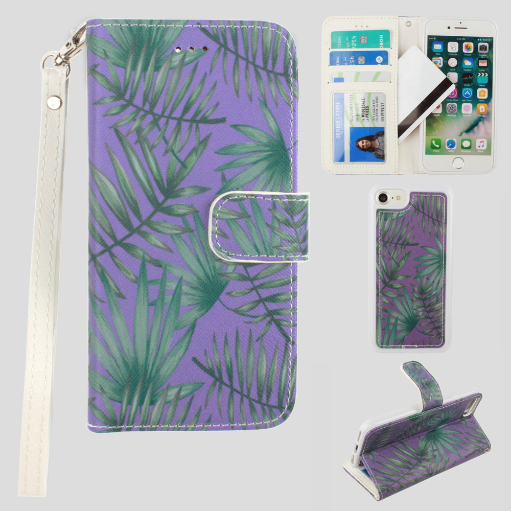 Apple iPhone 8 -  Palm Leaves Printed Wallet with Matching Detachable Slim Case and Wristlet, Purple/Green