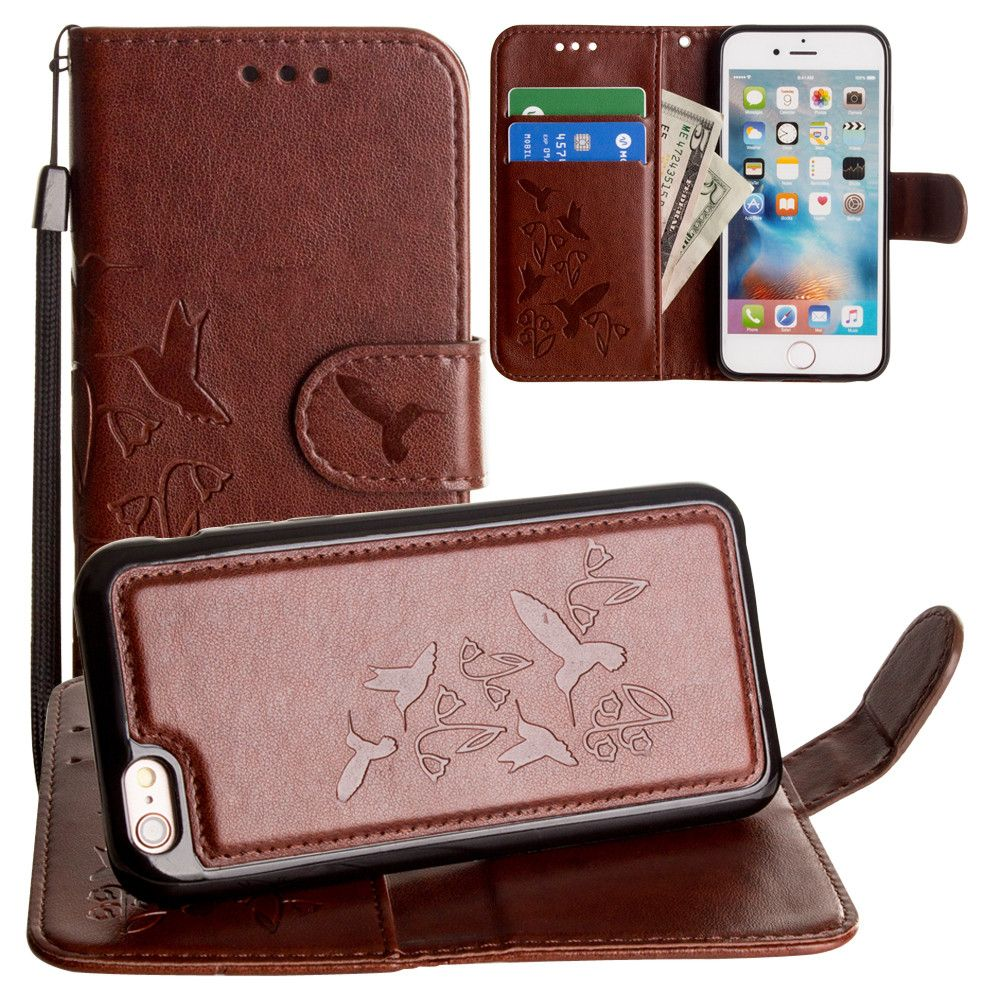 Apple iPhone 8 -  Embossed Humming Bird Design Wallet Case with Matching Removable Case and Wristlet, Brown