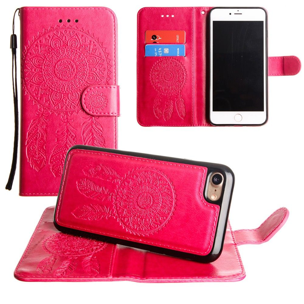 Apple iPhone 8 -  Embossed Dream Catcher Design Wallet Case with Detachable Matching Case and Wristlet, Pink