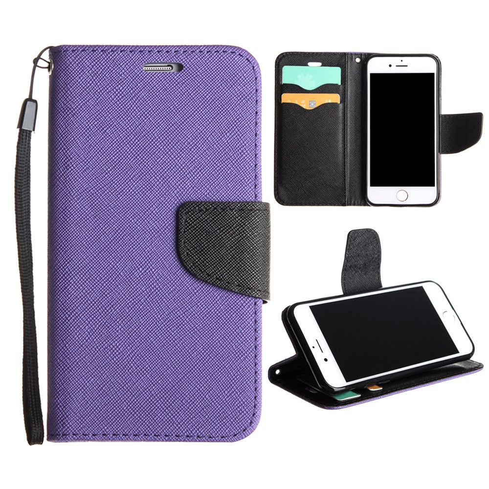 Apple iPhone 8 -  Premium 2 Tone Leather Folding Wallet Case, Purple/Black