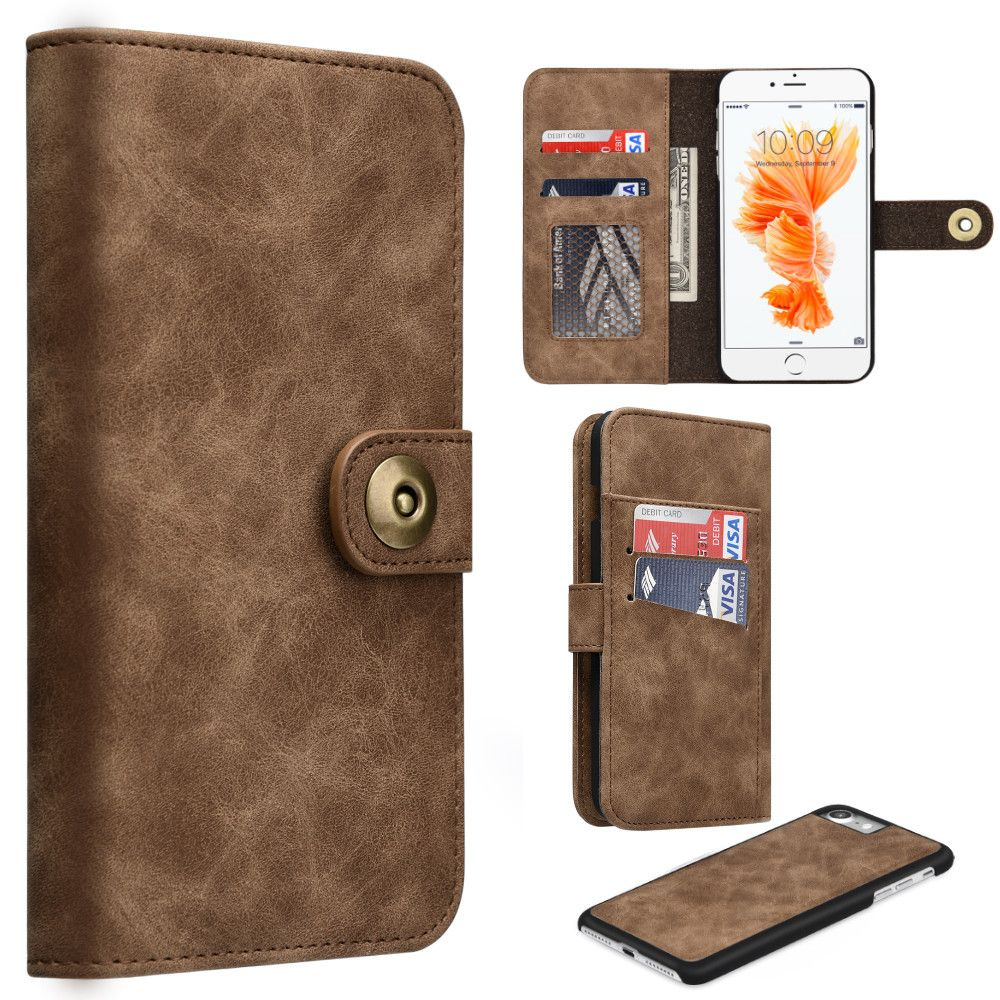 Apple iPhone 8 -  Luxury Button Snap Soft Leather Wallet with Matching Removable Phone Case, Brown