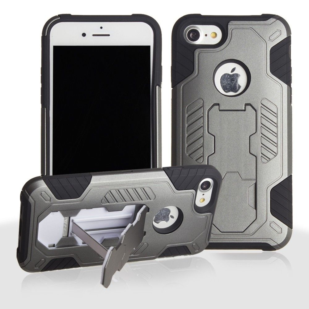 Apple iPhone 8 -  Mantas Heavy-Duty Rugged Case with Stand and Holster Combo, Gray/Black