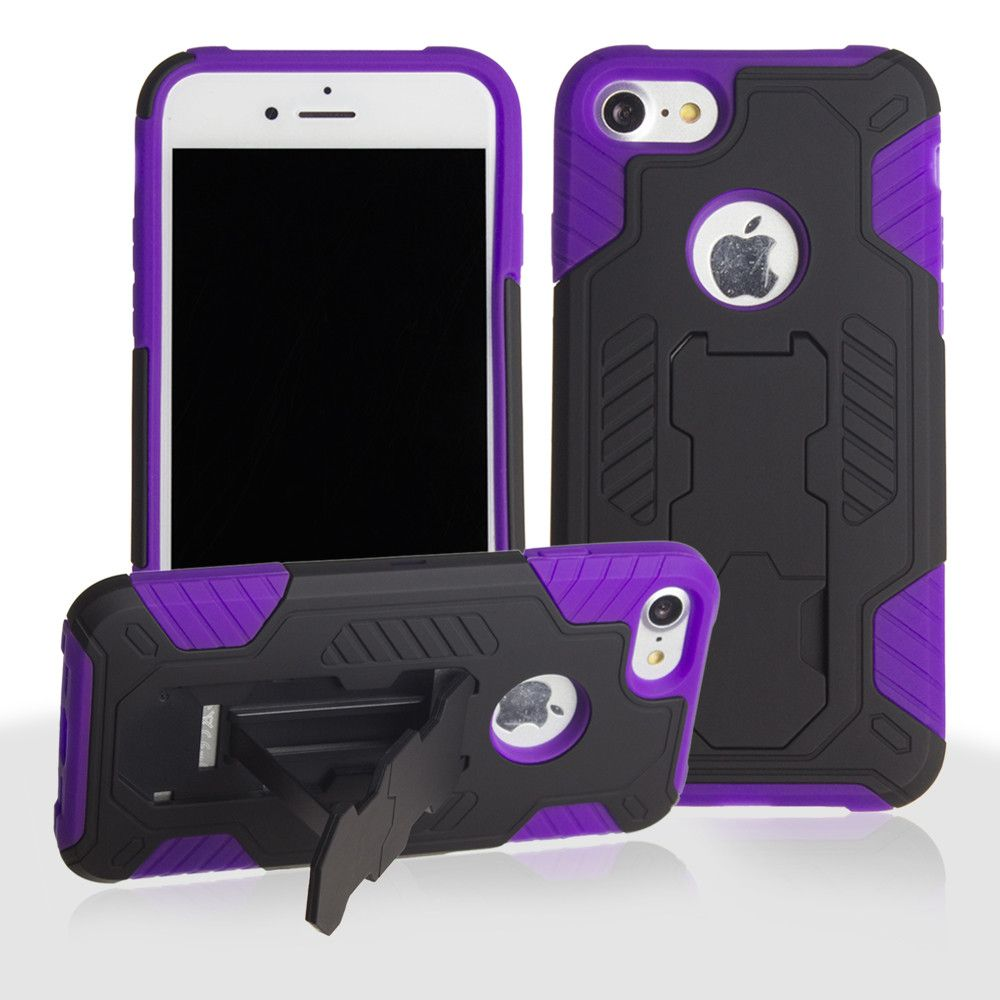 Apple iPhone 8 -  Mantas Heavy-Duty Rugged Case with Stand and Holster Combo, Black/Purple