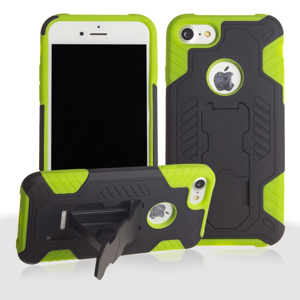Apple iPhone 8 -  Mantas Heavy-Duty Rugged Case with Stand and Holster Combo, Black/Neon Green