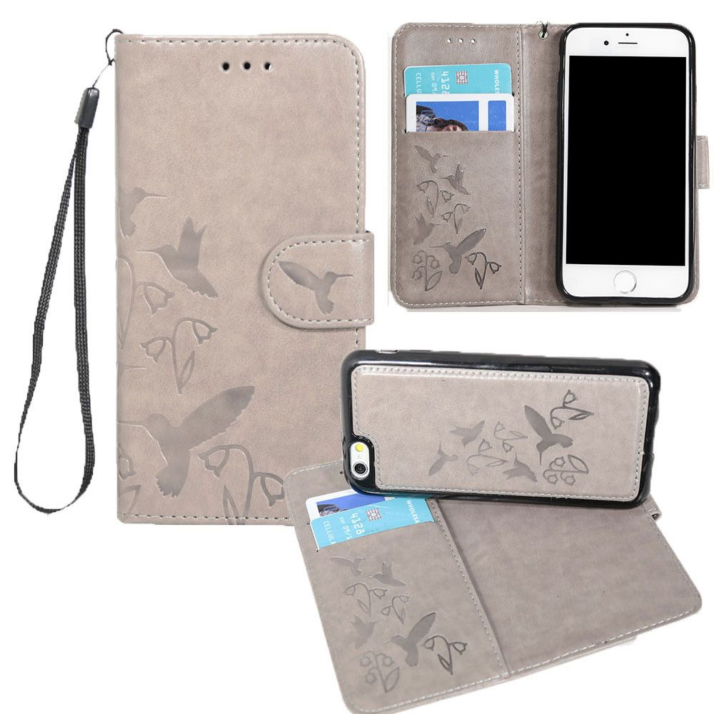Apple iPhone 8 -  Embossed Humming Bird Design Wallet Case with Matching Removable Case and Wristlet, Gray