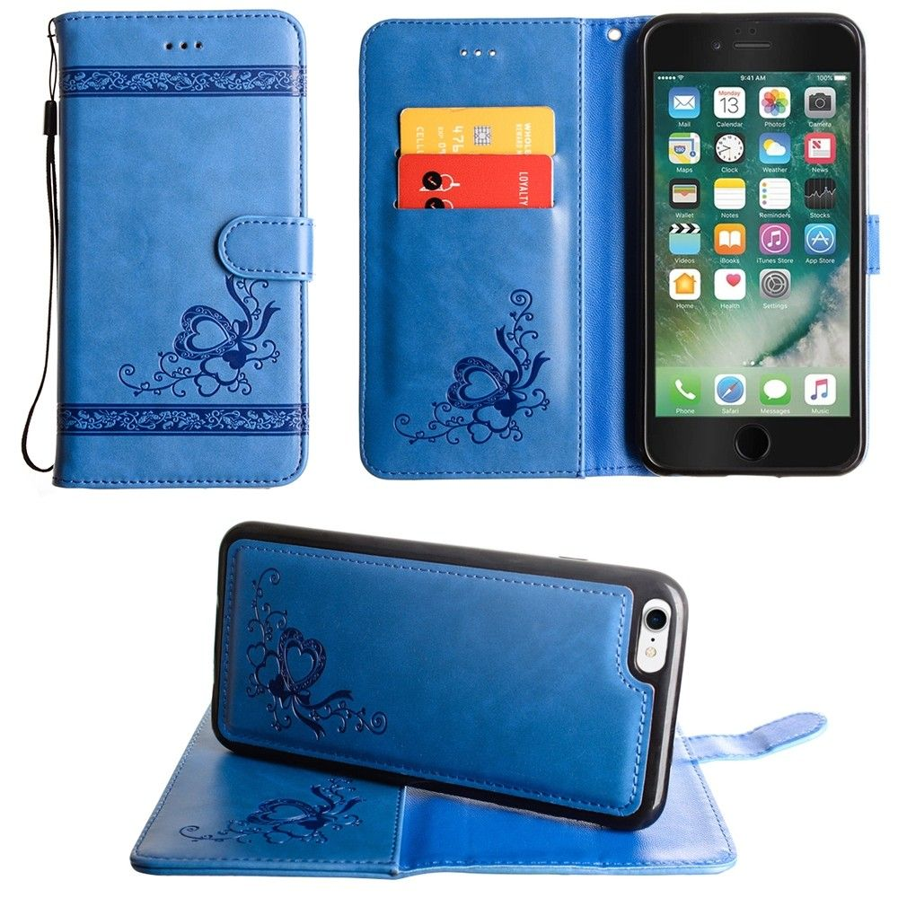 Apple iPhone 8 -  Embossed heart vine design wallet case with detachable matching case, Blue