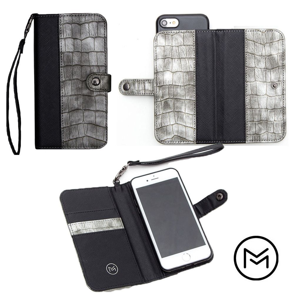 Apple iPhone 8 -  Limited Edition Mobovida Stanton Slide Wallet Case, Slate/Black