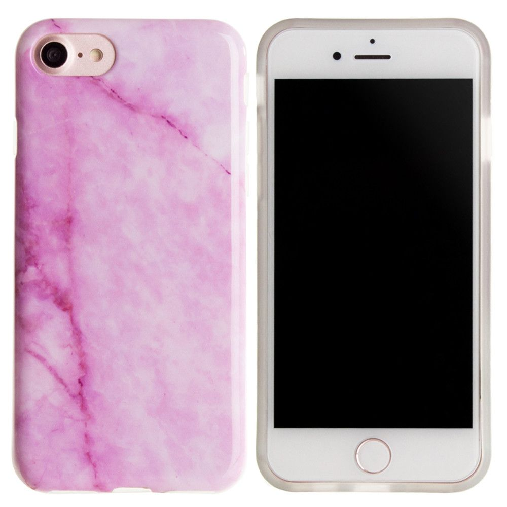 Apple iPhone 8 -  High Definition Marble Design TPU Case, Pink