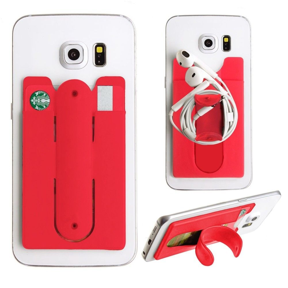 Apple iPhone 8 Plus -  2in1 Phone Stand and Credit Card Holder, Red