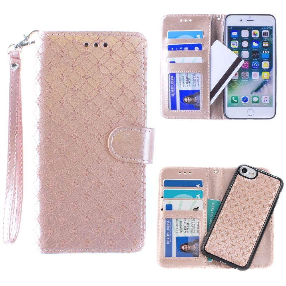 Apple iPhone 8 -  Diamond pattern laser-cut wallet with detachable matching slim case and wristlet, Rose Gold