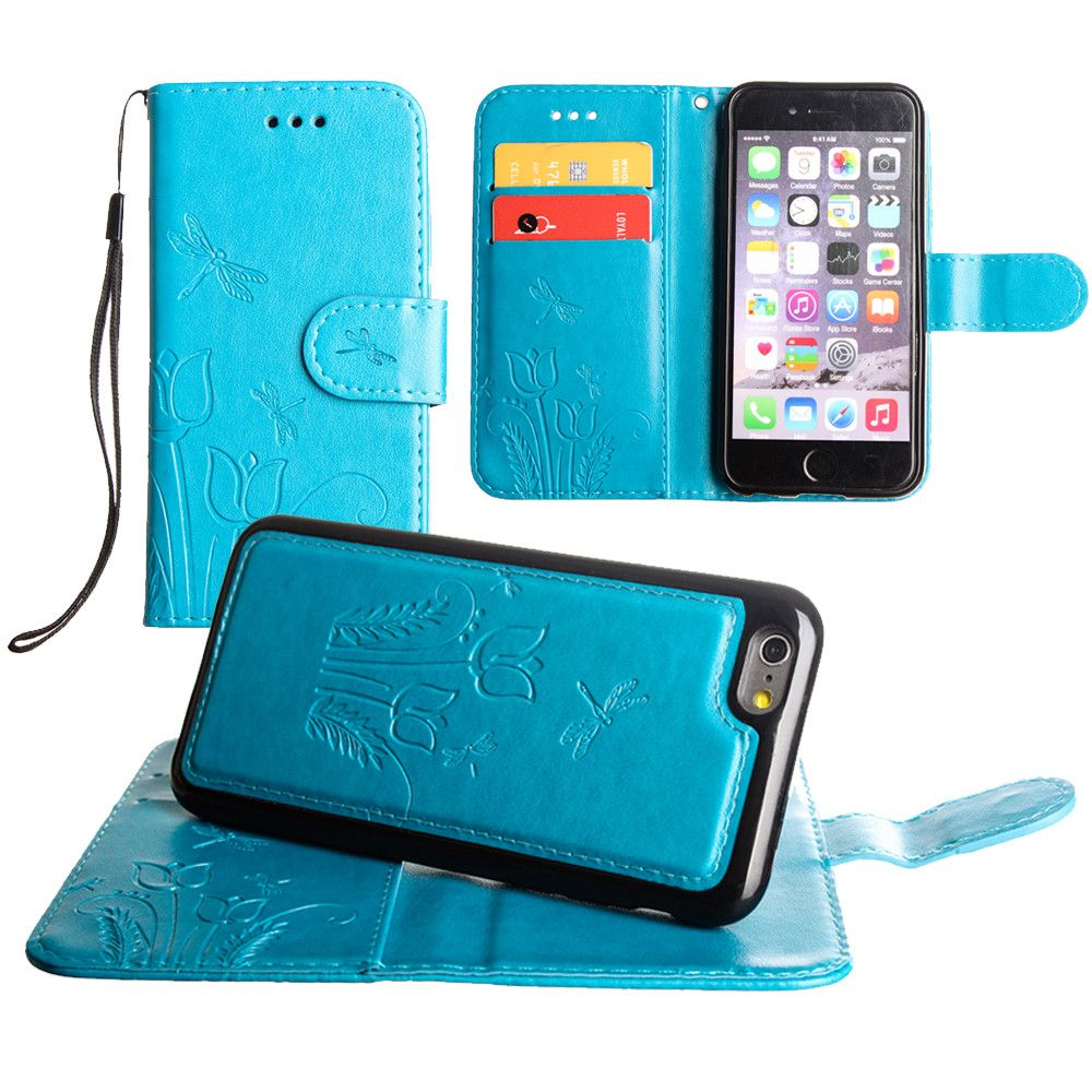 Apple iPhone 8 -  Embossed dragonfly over tulip design wallet case with Matching detachable magnetic case and wristlet, Teal