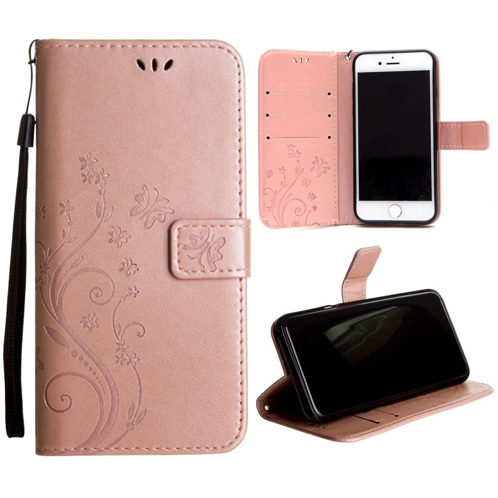 Apple iPhone 8 -  Embossed Butterfly Design Leather Folding Wallet Case with Wristlet, Rose Gold