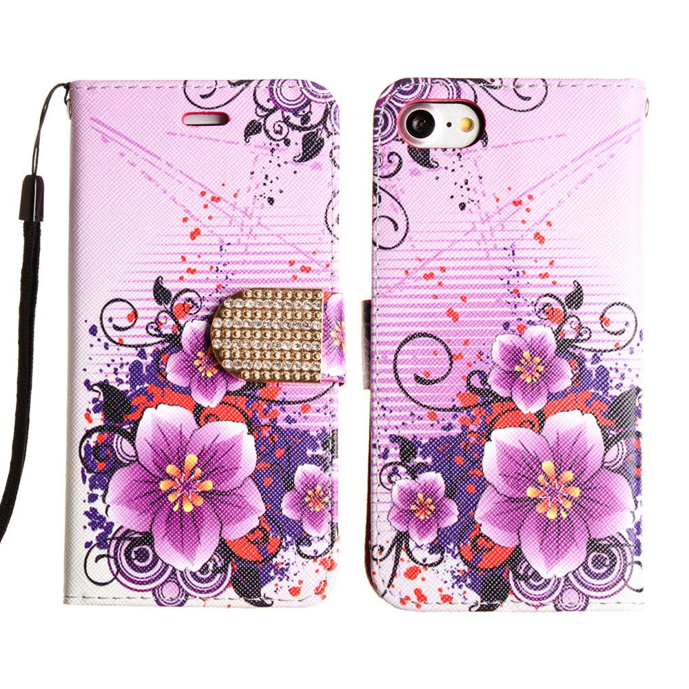 Apple iPhone 8 -  Hibiscus Flower Shimmering Folding Phone Wallet, Purple