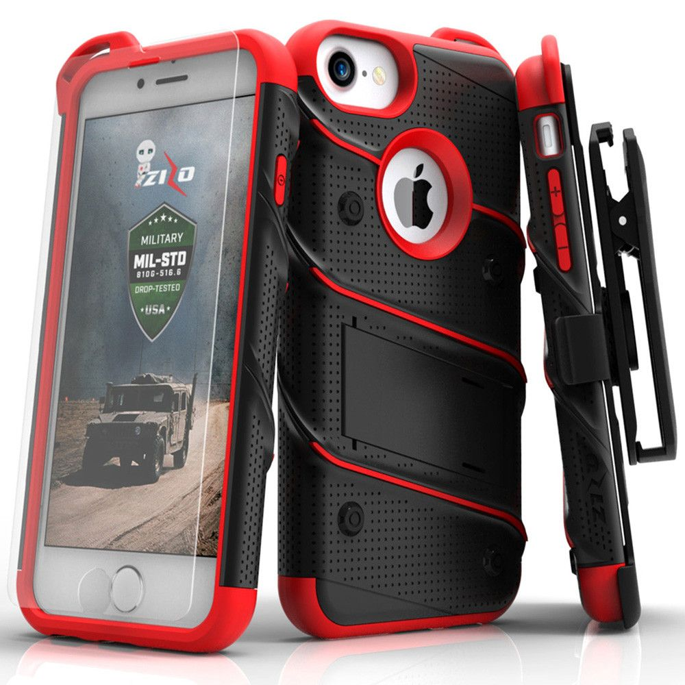 Apple iPhone 7 -  Bolt Heavy-Duty Rugged Case, Holster and Screen Combo, Black/Red