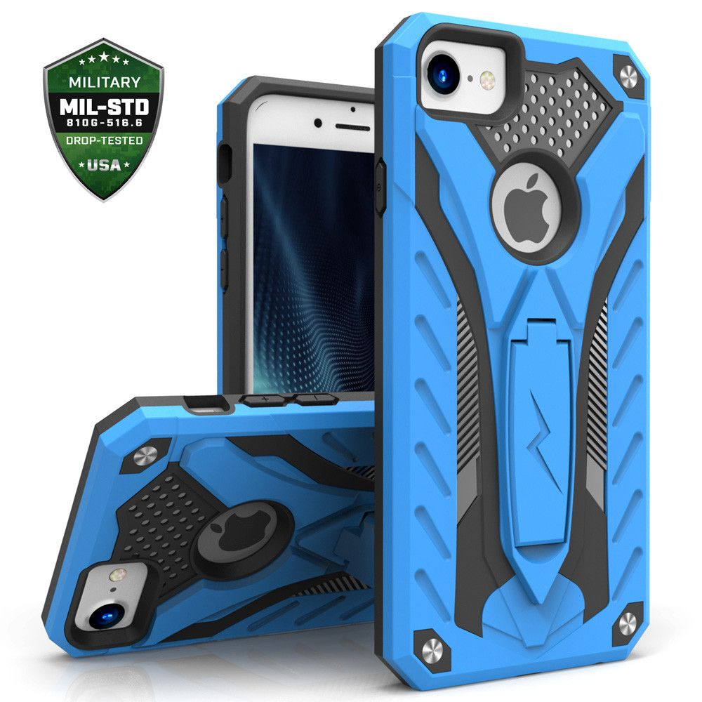 Apple iPhone 7 -  Zizo Static Hybrid Rugged Case with kickstand, Blue/Black