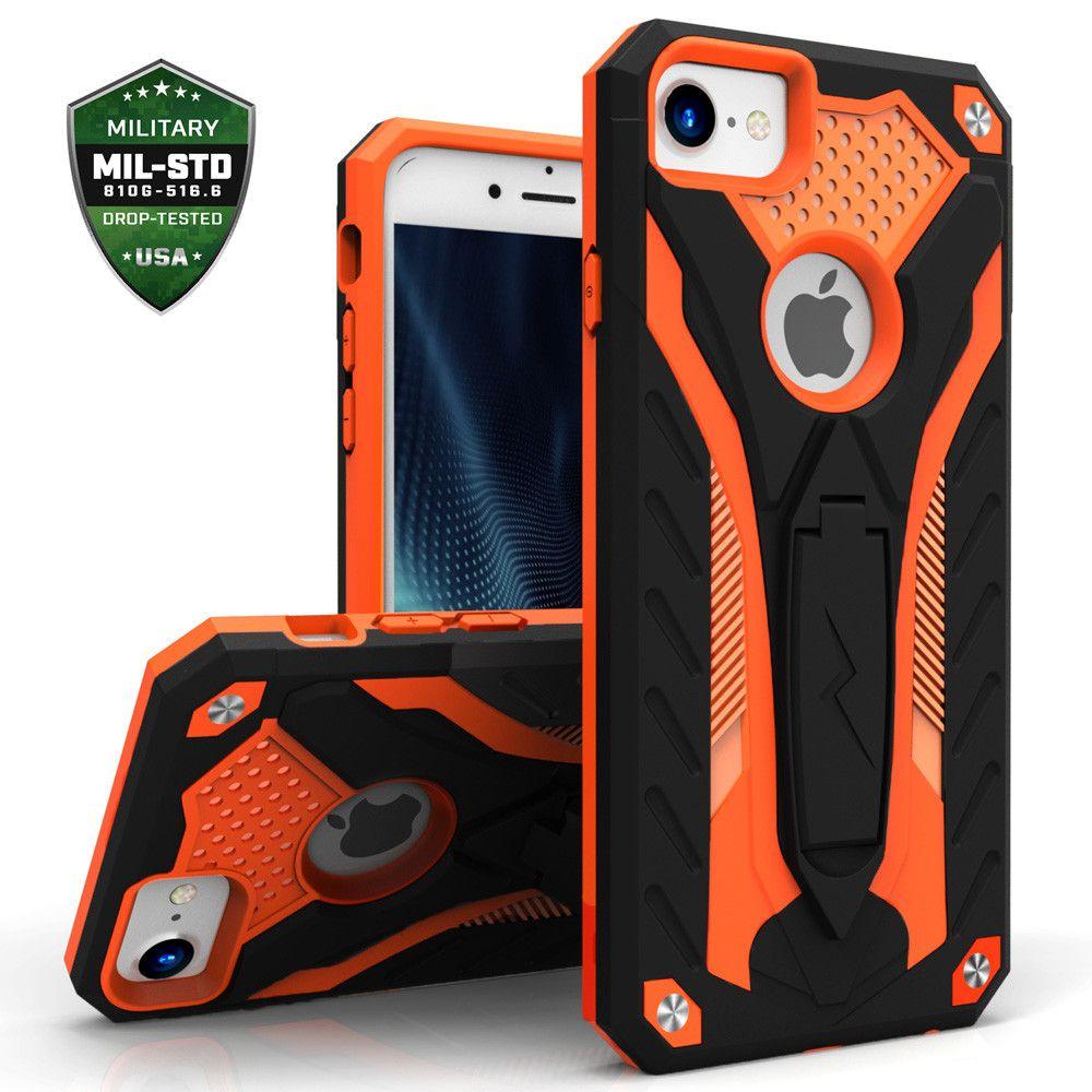 Apple iPhone 7 -  Zizo Static Hybrid Rugged Case with kickstand, Black/Orange
