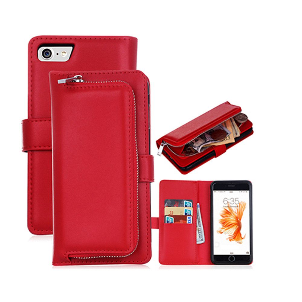 Apple iPhone 7 -  Compact Clutch Wallet with detachable magnetic case, Red