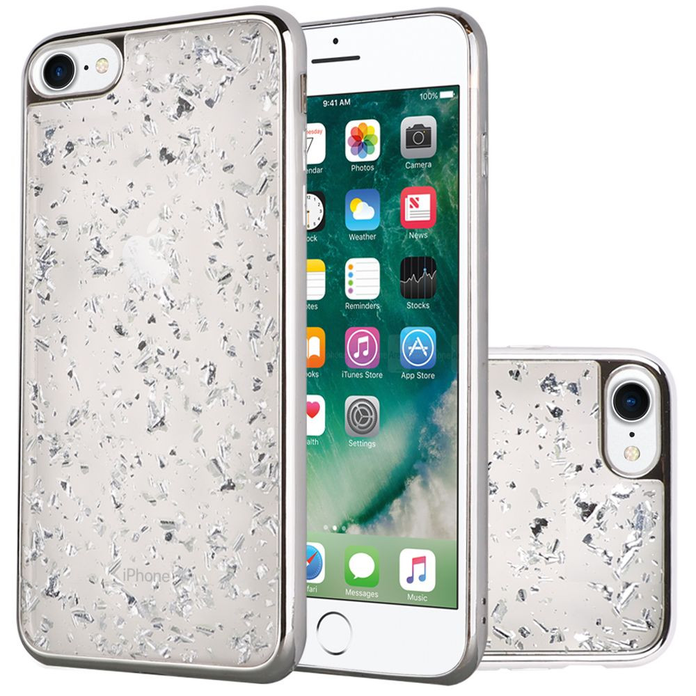 Apple iPhone 7 -  Slim Fashion Sparkling Flake TPU Case with Chrome Bumper, Silver