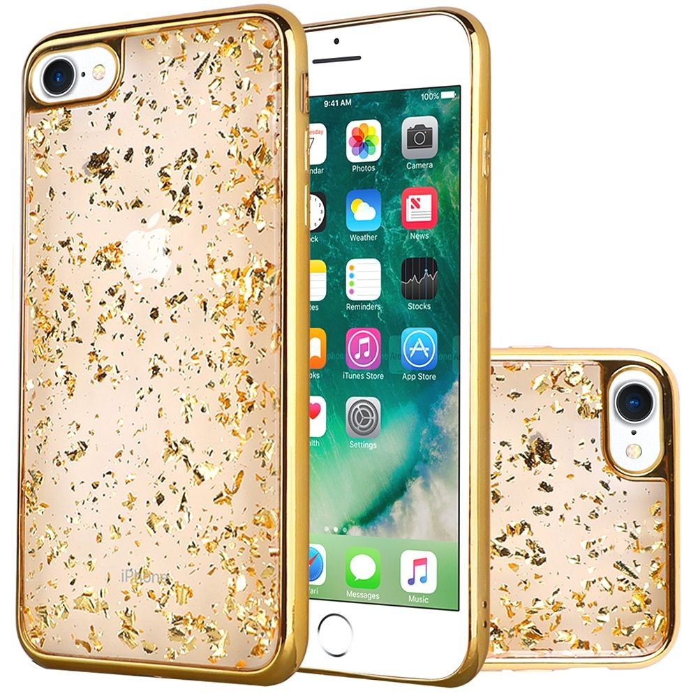 Apple iPhone 7 -  Slim Fashion Sparkling Flake TPU Case with Chrome Bumper, Gold