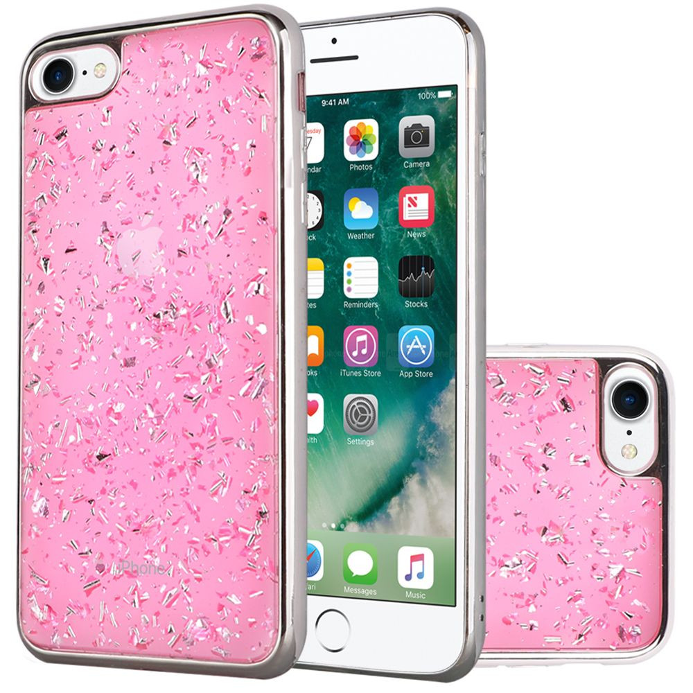 Apple iPhone 7 -  Slim Fashion Sparkling Flake TPU Case with Chrome Bumper, Pink/Silver