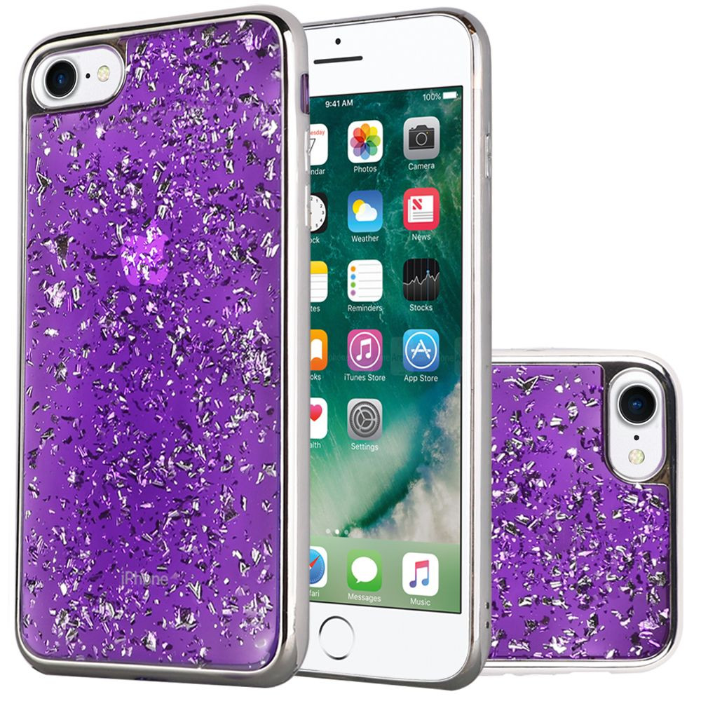 Apple iPhone 7 -  Slim Fashion Sparkling Flake TPU Case with Chrome Bumper, Purple/Silver