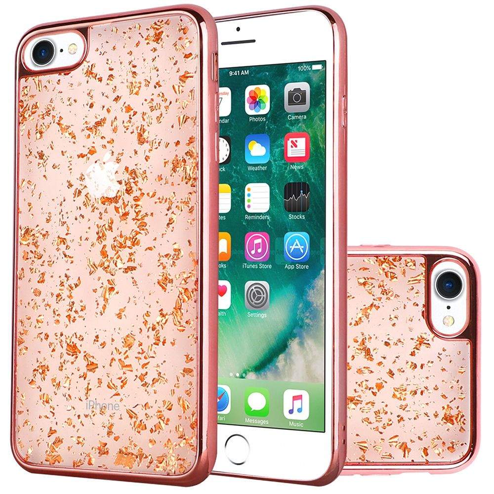 Apple iPhone 7 -  Slim Fashion Sparkling Flake TPU Case with Chrome Bumper, Rose Gold