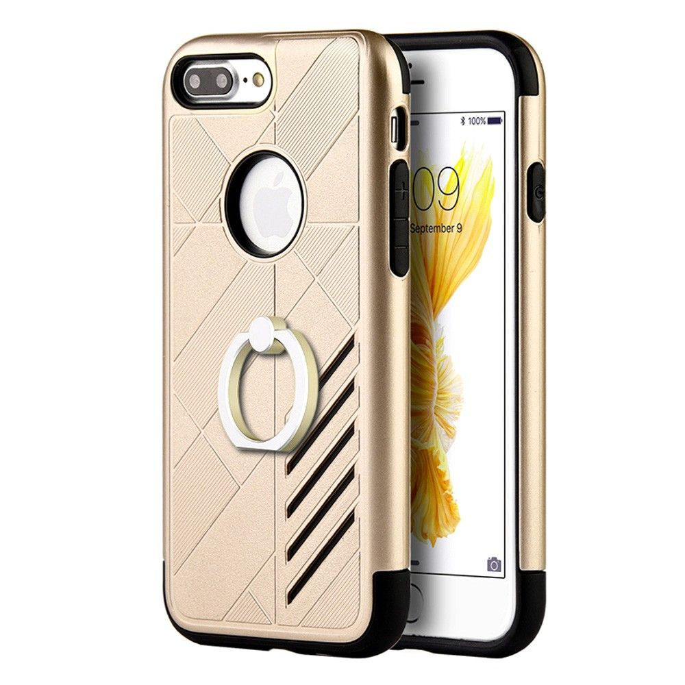 Apple iPhone 7 - Hybrid Tough Rubber Case with Ring, Gold/Black