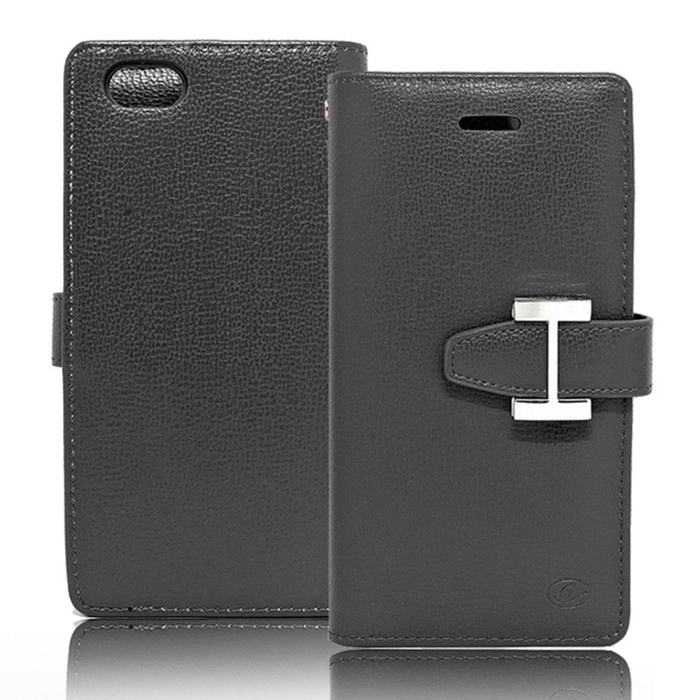Apple iPhone 7 - Metal Buckle Design Multi-Card Compact Wallet Case, Black