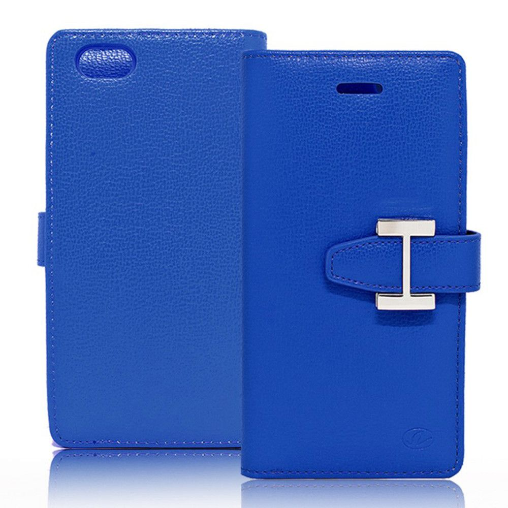 Apple iPhone 7 - Metal Buckle Design Multi-Card Compact Wallet Case, Blue