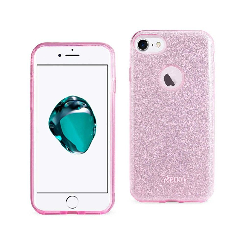 Apple iPhone 7 - Glitter Shimmering Hybrid Case, Pink/Silver