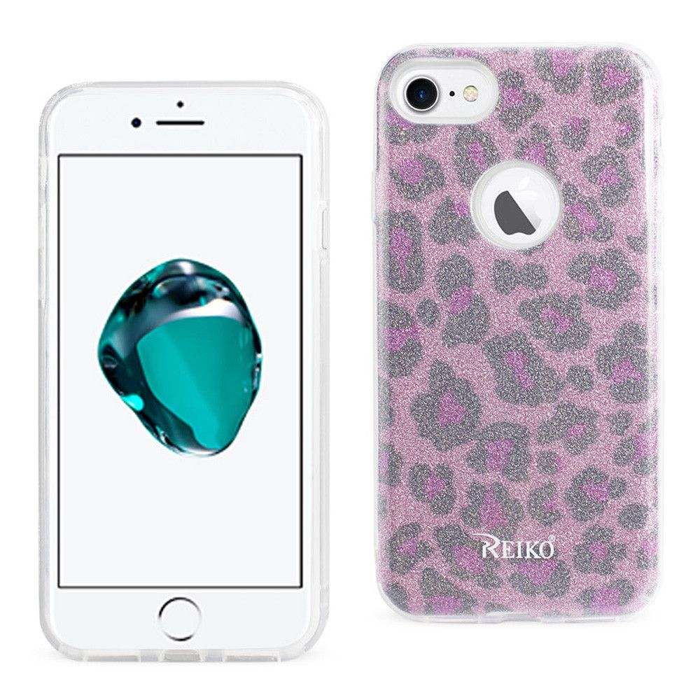 Apple iPhone 7 - Leopard Glitter Shimmering Hybrid Case, Pink