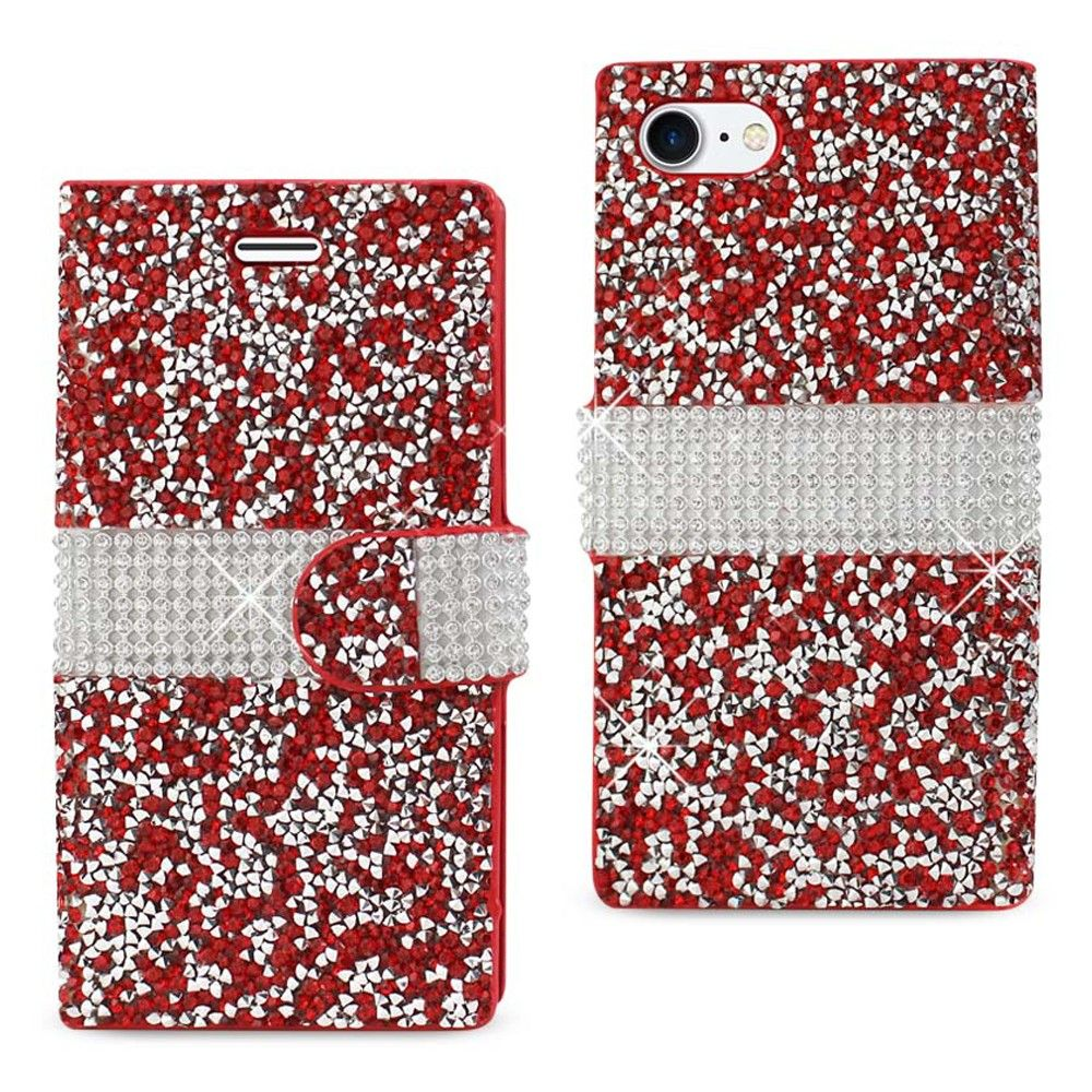 Apple iPhone 7 - Full Bling Shimmering Rhinestone Phone Wallet Case, Red