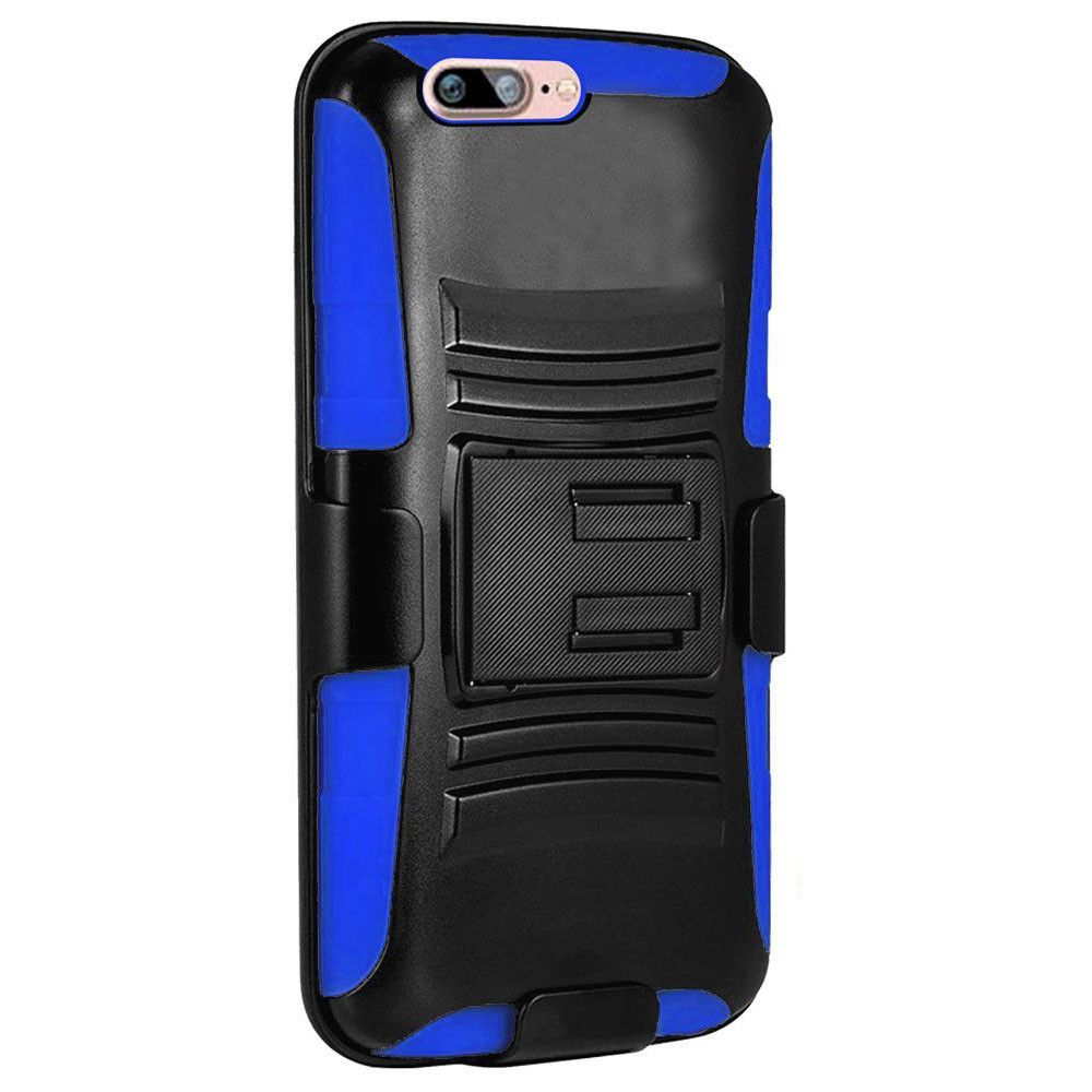 Apple iPhone 7 -  My.Carbon 3-in-1 Rugged Case with Belt Clip Holster, Black/Blue