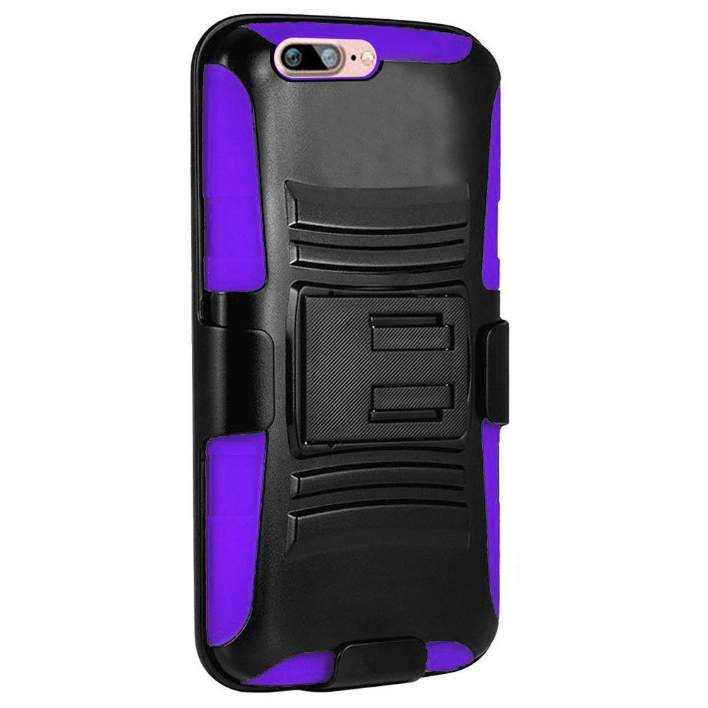 Apple iPhone 7 -  My.Carbon 3-in-1 Rugged Case with Belt Clip Holster, Black/Purple