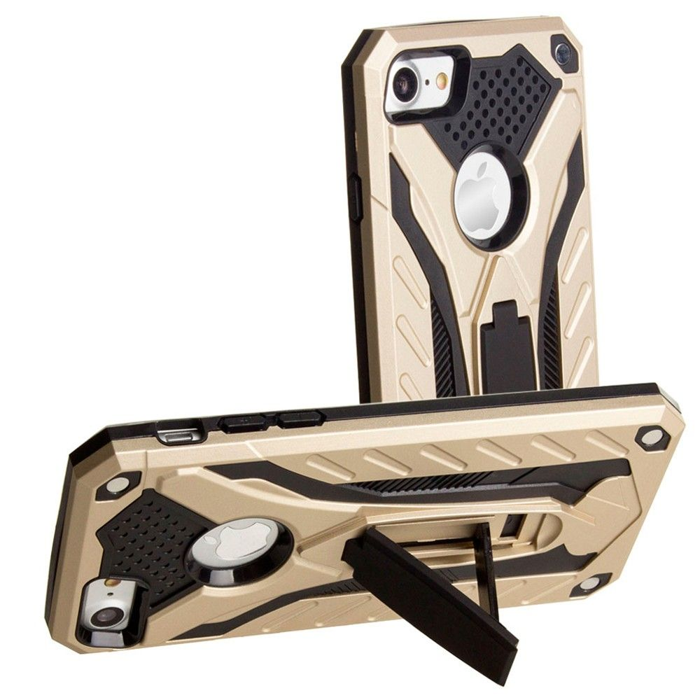 Apple iPhone 7 -  Armor Shockproof Hybrid Case with Stand, Gold