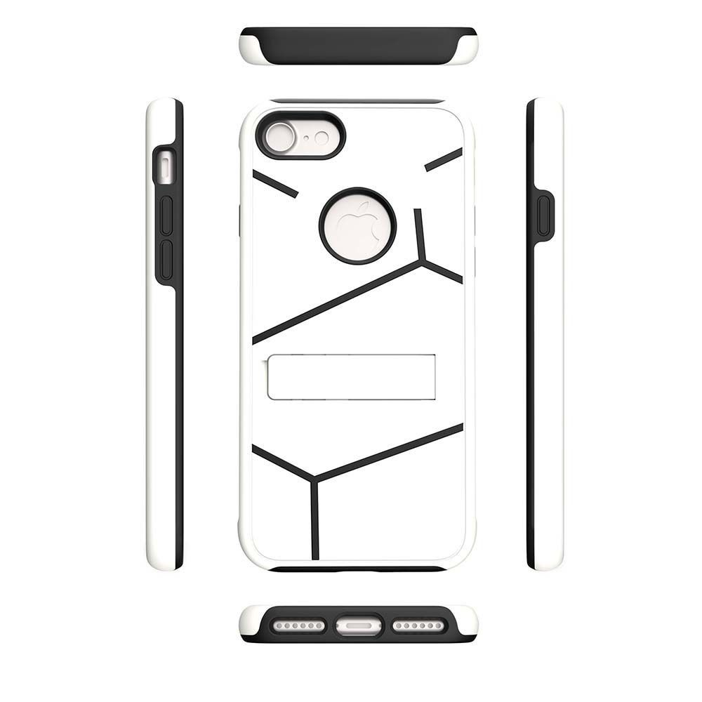 Apple iPhone 7 -  Helix Dual Layer Rugged Case with Stand, White/Black